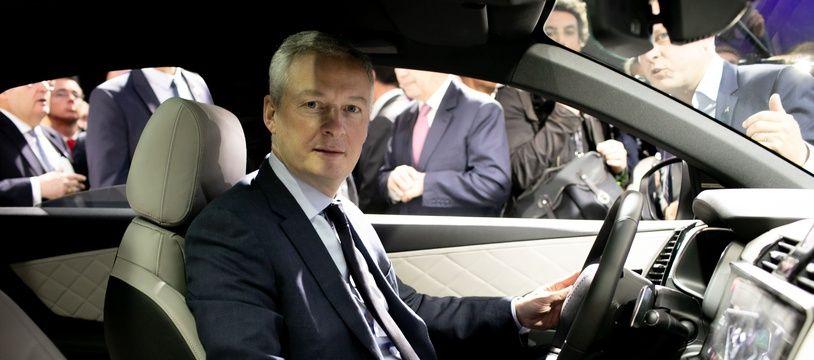 Bruno Le Maire au Salon mondial de l'Auto 2018 à Paris.