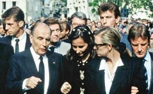 François Mitterrand, Ségolène Royal, Elisabeth Guigou et Bernard Kouchner (de g. à dr.), le 4 mai 1993 à Nevers.