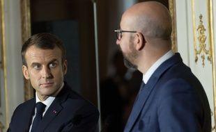 Emmanuel Macron et Charles Michel, le Premier ministre belge, en conférence de presse à  Bruxelles, en Belgique, le 19 novembre 2018.