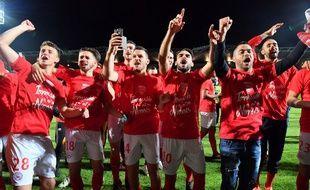 Nîmes a décroché la montée en Ligue 1 après une victoire contre Ajaccio (4-0), le 4 mai 2018.
