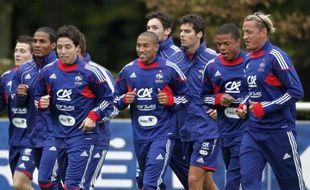 Les joueurs de l'équipe de France, lors d'un footing à Clairefontaine, le 5 octobre 2010.