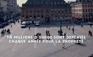 Capture d'écran de la vidéo de la ville de Lille sur la propreté.