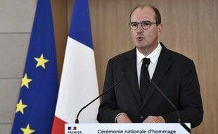 Le Premier ministre, Jean Castex, lors de la cérémonie d'hommage aux six humanitaires français tués au Niger, à Orly, le 14 août 2020.