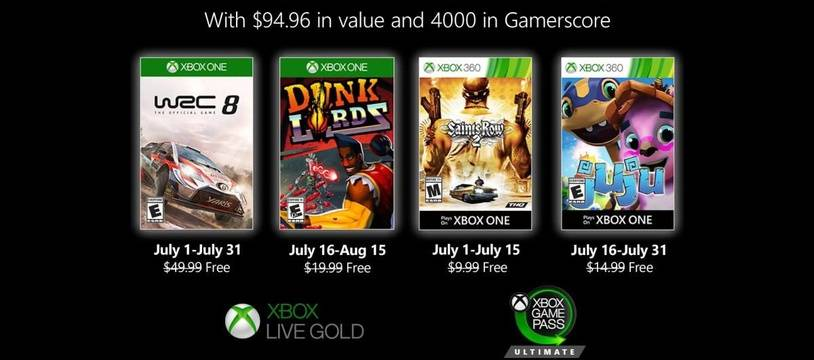 Games with Gold: voici les 4 jeux offerts sur Xbox en juillet