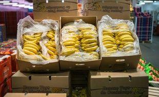 Des bananes produites en Guadeloupe, vendues au marché de Rungis près de Paris, le 23 décembre 2014