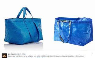 Capture d écran Twitter des deux sacs, celui de Balenciaga et celui d  725fca301ee