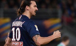 L'attaquant du PSG Zlatan Ibrahimovic, le 13 janvier 2015, à Saint-Etienne.