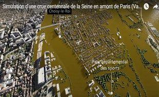 L'Institut d'aménagement et d'urbanisme d'Île-de-France a imaginé dans un film 3D les conséquences d'une crue centennale sur Paris et sa  couronne.