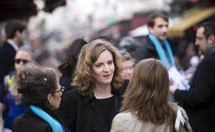 La candidate UMP à la mairie de Paris, Nathalie Kosciusko-Morizet, en campagne électorale le 11 mars 2014 rue Montorgueil à Paris