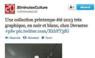 De New York à Paris, le smarphone connecté à Twitter est l'accessoire le plus tendance des défilés (Création Dévastée).