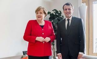 Le président Emmanuel Macron aux côtés de la chancelière allemande Angela Merkel lors du sommet européen du 21 mars 2019.