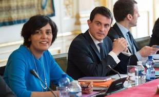 Myriam El Khomri et Manuel Valls à Matignon le 14 mars 2016.