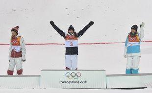 Perrine Laffont a remporté la médaille d'or en ski de bosses lors des JO de Pyeongchang, le 11 février 2018.