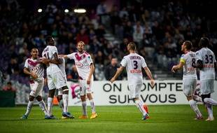 Bordeaux's players Ferreira, Diabate, Plasil, Contento reacts after Diabate's goal during the French League Cup soccer match between Toulouse Football Club and Girondins de Bordeaux at the Toulouse Stadium in Toulouse, southern FRANCE - 28/10/2014./LANCELOT_FLAF019/Credit:LANCELOT FREDERIC/SIPA/1410282351