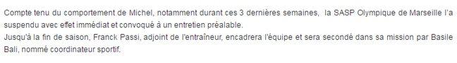 Capture d'écran de la première version du communiqué de presse de l'OM annonçant le départ de Michel.