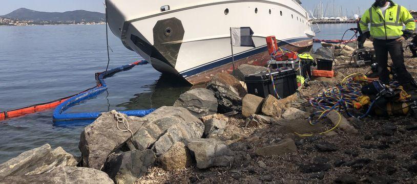 Le yacht Ipsum s'est échoué à Saint-Tropez en 2019
