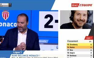 Edouard Baer s'est incrusté en plein direct sur la chaîne L'Equipe.