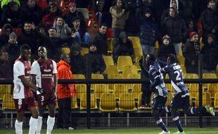 Sunu vient de marquer le deuxième but d'Evian-Thonon-Gaillard à Metz, le 28 février 2015 en Ligue 1