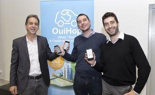 Les trois co-fondateurs de OuiHop' viennent de lancer l'application sur Lyon.