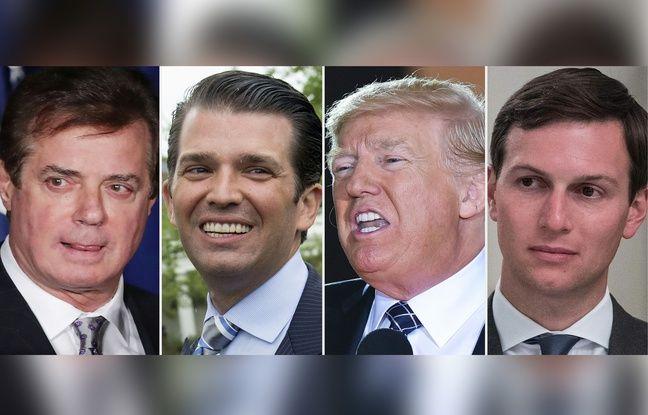 Photomontage de Donald Trump entouré de son fils (à sa gauche), Donald Trump Jr, de son gendre, Jared Kushner (droite) et de son ancien directeur de campagne, Paul Manafort.