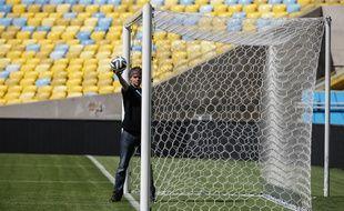 Démonstration de la Goal line technology utilisée pour la première fois par la Fifa lors de la Coupe du monde 2014. A Rio, le 9 juin 2014.