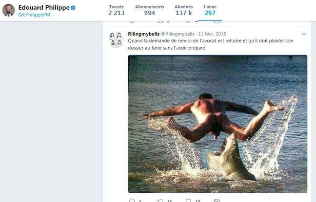 Le tweet liké par Edouard Philippe sur les avocats.