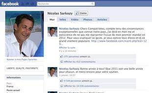 Capture d'écran de la page facebook de Nicolas Sarkozy, piratée le 23 janvier 2011.