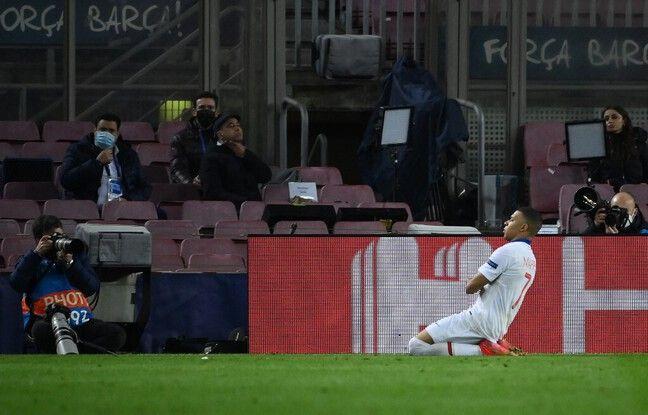 Mbappé égalise face au Barça, le 16 février 2021.