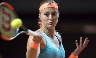 Kristina Mladenovic s'est imposée face à la numéro 1 mondiale, Angelique Kerber, le 27 avril 2017, au tournoi de Stuttgart.