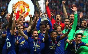 La joie des joueurs de Manchester United lors de leur victoire en Ligue Europa, le 28 mai 2017.