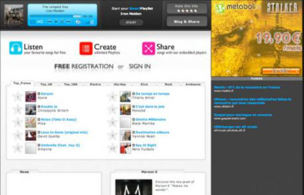 Deezer, site d'écoute de musique en ligne, se veut totalement légal – DR