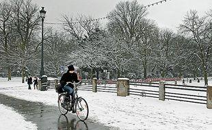 Neige près de la Citadelle de Lille.
