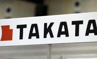 Le logo de Takata à l'enseigne d'un showroom le 23 novembre 2014 à Yokohama