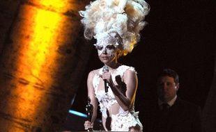 La chanteuse Lady Gaga, lors des Brit Awards 2010, à Londres, le 16 février 2010.