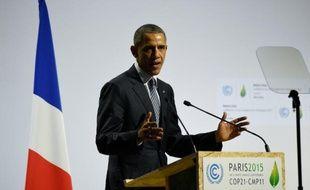Le président américain Barack Obama lors de la conférence mondiale sur le climat de Paris, le 30 novembre 2015