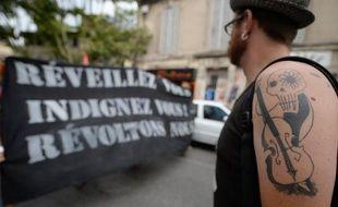 Des intermittents du spectacle de la CGT-Spectacle manifestent à Avignon le 4 juillet 2014