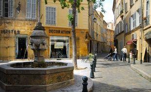 Une fontaine dans le centre ville d'Aix-en-Provence.