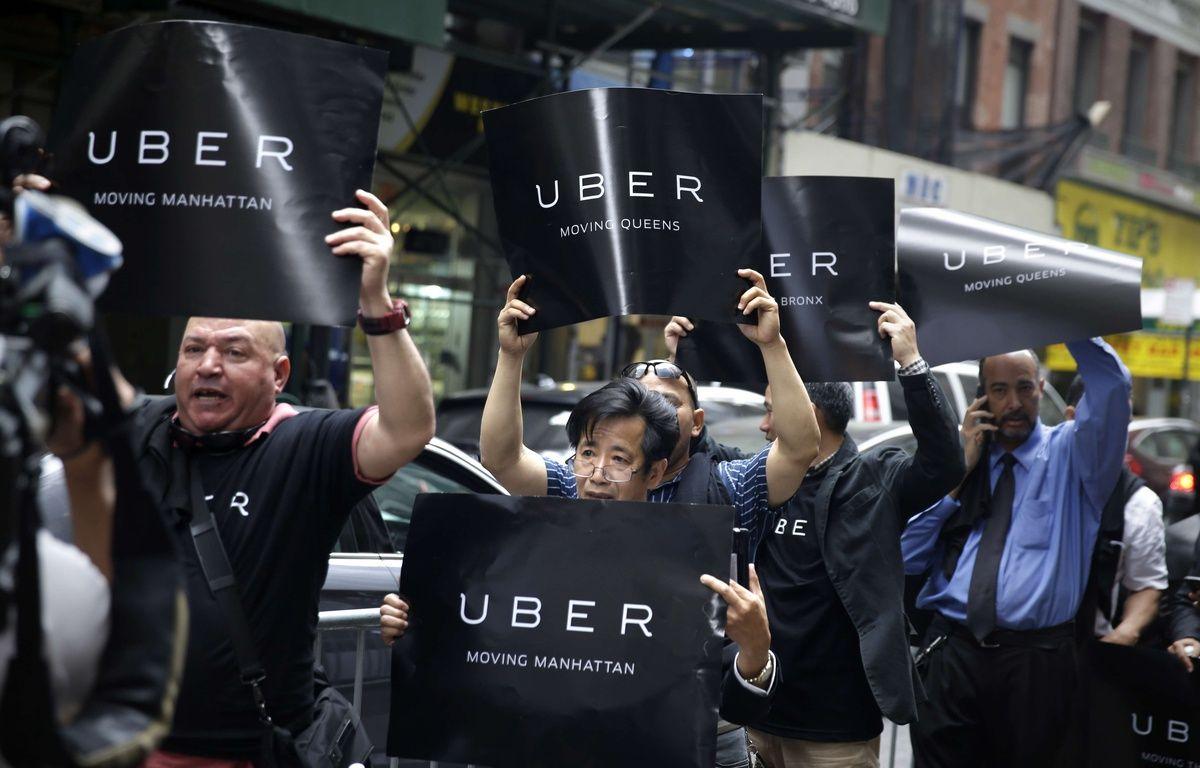 Des chauffeurs Uber manifestent à New York (Etats-Unis) le 28 mai 2015. – Seth Wenig/AP/SIPA