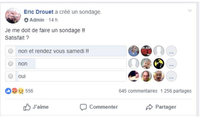 Capture d'écran de la page Facebook d'Eric Drouet.
