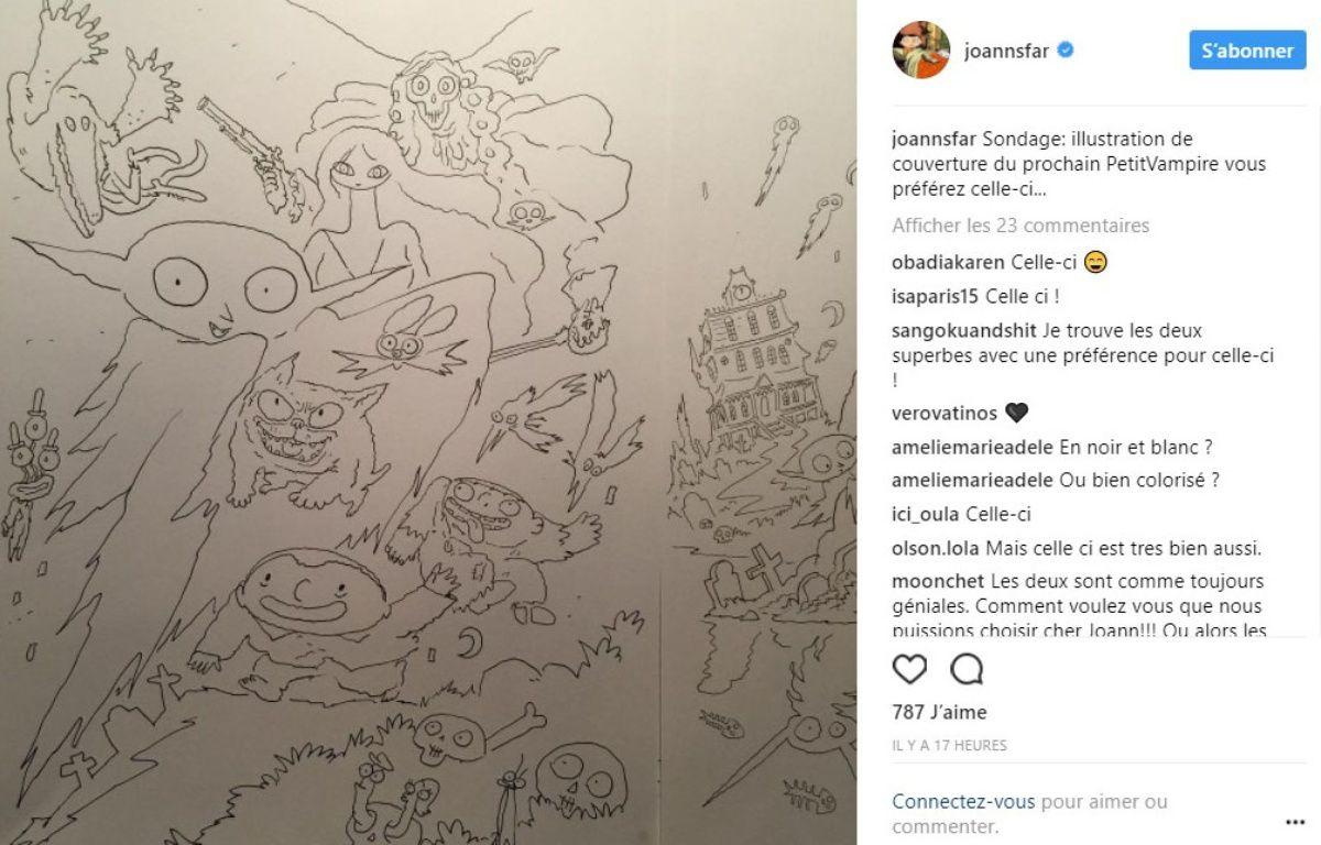 Capture d'écran d'un post Instagram de Joann  Sfar d'août 2017. – Capture d'écran @joannsfar