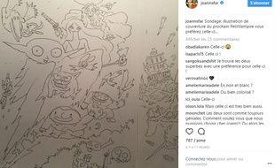 Capture d'écran d'un post Instagram de Joann  Sfar d'août 2017.