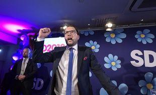 Le leader de l'extrême droite suédoise Jimmie Akesson, à Stockholm le 9 septembre 2018.