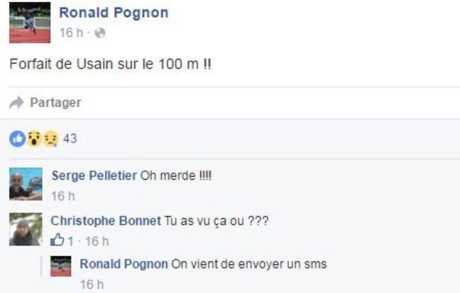 Ronald Pognon annonce le forfait de Bolt