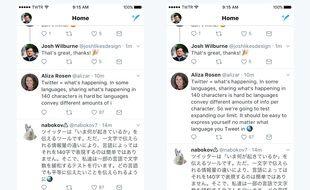 Des tweets de 280 caractères (à droite).