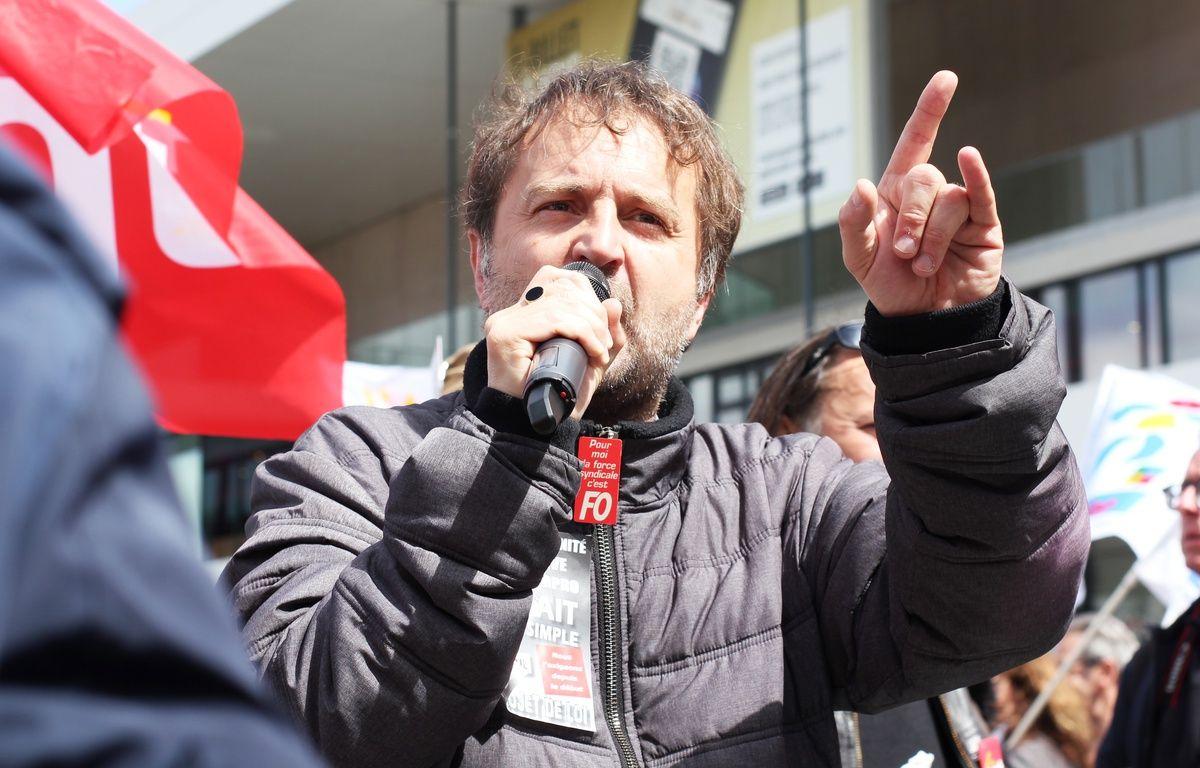Fabrice Lerestif, secrétaire départemental du syndicat Force Ouvrière, ici lors d'une manifestation contre la loi Travail le 3 mai à Rennes – C. Allain / APEI / 20 Minutes