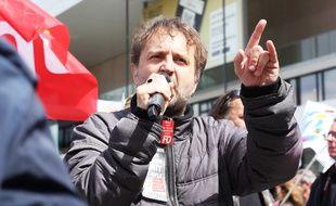 Fabrice Lerestif, secrétaire départemental du syndicat Force Ouvrière, ici lors d'une manifestation contre la loi Travail le 3 mai à Rennes
