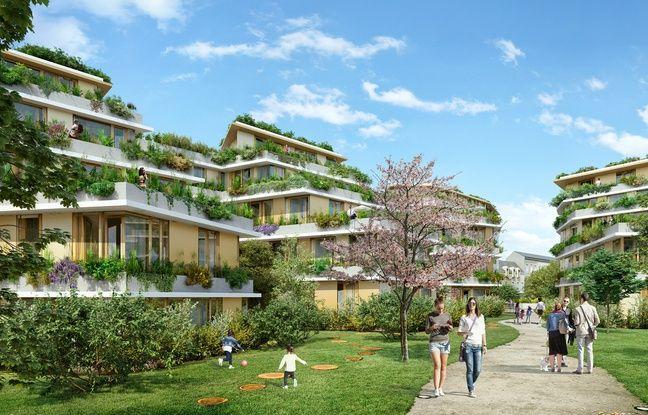 Image de synthèse du projet de transformation de la maison d'arret de Nantes, dans le jardin central