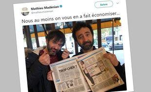 Tweet posté le 15 novembre 2017 sur le compte de Mathieu Madénian.