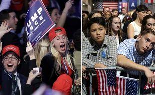 Les Etats-Unis sont-ils divisés au lendemain de la victoire de Donald Trump ? Ici, des supporters de Trump et de Clinton découvrent les résultats le 9 novembre 2016.