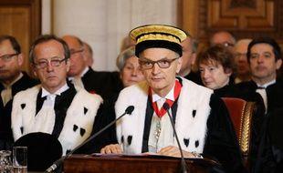Didier Migaud, président de la Cour des comptes, en habits officiels à l'occasion des vœux de la nouvelle année.